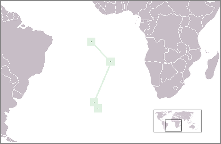 Positions (north to south) of Ascension Island, Saint Helena, and Tristan da Cunha in the South Atlantic Ocean LocationStHelena.PNG