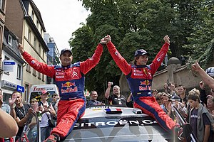 2008 Rallye Deutschland - Loeb and co-driver Daniel Elena celebrating the victory.