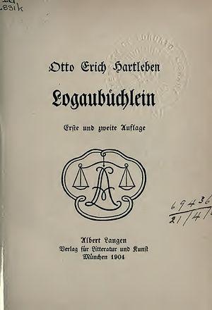 Friedrich von Logau - Logaubüchlein, 1904