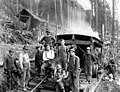Logging crew with dog posed in front of donkey engine, Snohomish County, ca 1913 (PICKETT 136).jpeg