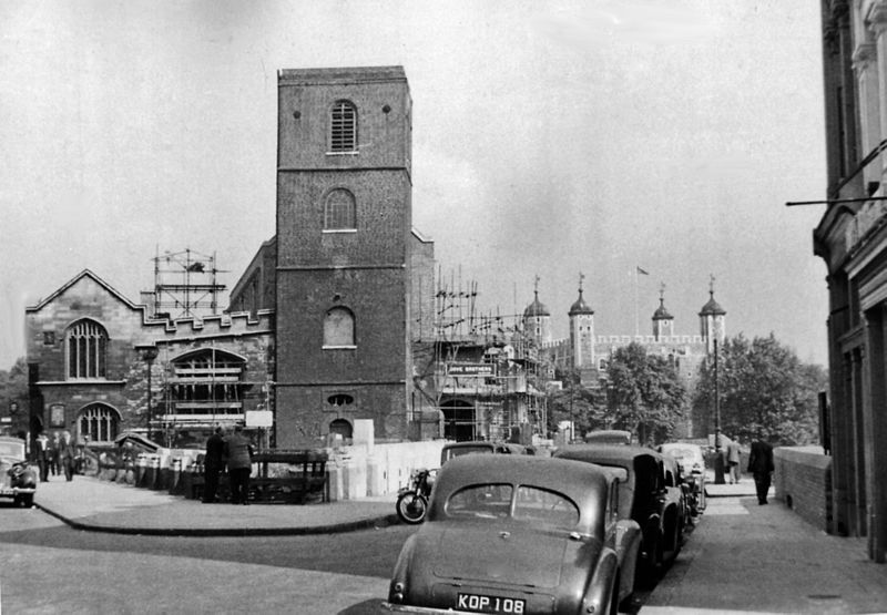 Church of All Hallows-by-the Tower and view along Great Tower Street, 1955