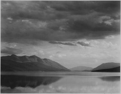 "Looking across lake to mountains and clouds, ""Evening, McDonald Lake, Glacier National Park,"" Montana., 1933 - 1942 - NARA - 519870.tif"