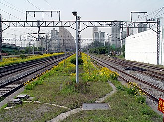 Geumcheon-gu Office Station - Image: Looking north from Siheung Station