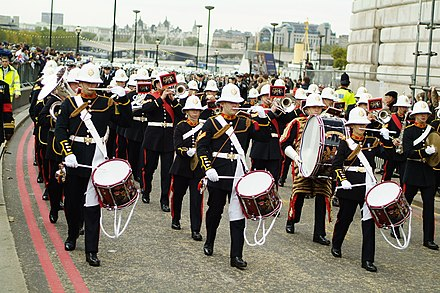 The Royal Marines Band Service is the only musical wing presently active in the Royal Navy. Lord Mayor's Show, London 2006 (295198177).jpg