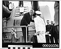 Lord Mayor Alderman Crick and unidentified naval officer at the presentation ceremony of gifts from the people of Sydney on the HMAS SYDNEY (II), February 10th 1941 (3293317469).jpg