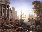 Lorrain, Claude - Port Scene with the Embarkation of St Ursula - 1641.jpg