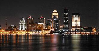 Cityscape of Louisville, Kentucky - Louisville skyline at night