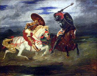 Spanish chivalry - Combat des chevaliers dans la campagne (1824) by Eugène Delacroix, now in the Louvre