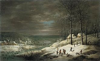 Lucas van Uden - Winter Landscape with Hunters