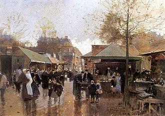 Porte de Clignancourt (Paris Métro) - The marché aux puces, Porte de Clignancourt, by François-Joseph Luigi Loir.