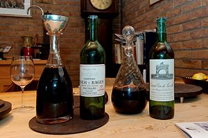 Château Léoville-Las Cases - A 1970 Leoville-Las-Cases in the decanter on the right, served alongside another Bordeaux wine.