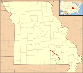 Map showing the location of Ozark National Scenic Riverways