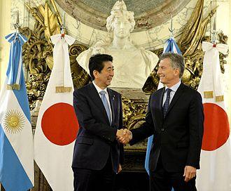 Argentina–Japan relations - Japanese PM Shinzō Abe (left) and Argentine President Mauricio Macri on November 21, 2016.