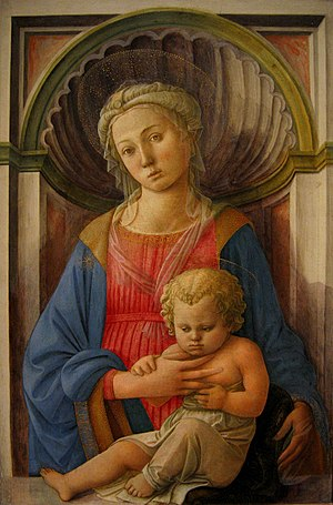 Niche (architecture) - Florentine Renaissance painter Filippo Lippi placed his Madonna of the 1440s within a simulated shell-headed niche