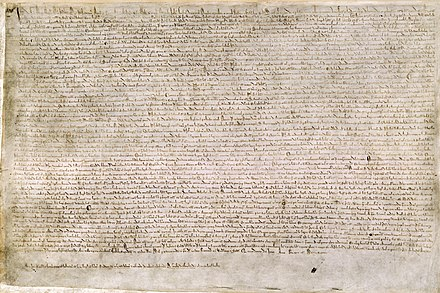 "Magna Carta or ""The Great Charter"" was one of England's first documents containing commitments by a king to his people to respect certain legal rights. It reduced the power of the monarch. Magna Carta (British Library Cotton MS Augustus II.106).jpg"