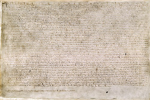 "Magna Carta or ""Great Charter"" was one of the world's first documents containing commitments by a sovereign to his people to respect certain legal rights Magna Carta.jpg"