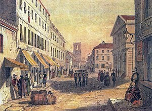 Water supply and sanitation in Gibraltar - A view of Main Street, Gibraltar in the early 19th century; it was permeated with foul smells from sewage trapped under the roadway