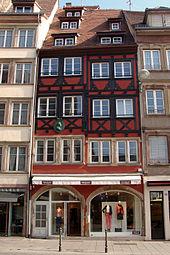 Goethes Wohnhaus in Straßburg, ehemals am Fischmarkt, jetzt Rue du Vieux Marché aux Poissons (Quelle: Wikimedia)
