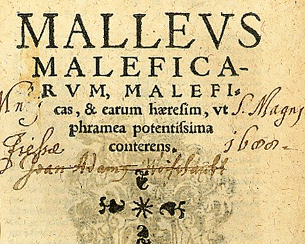 Title page of the seventh Cologne edition of the Malleus Maleficarum, 1520 (from the University of Sydney Library), a book endorsing the extermination of witches. Malleus maleficarum, Koln 1520, Titelseite.jpg