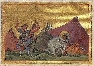October 5 (Eastern Orthodox liturgics) - Image: Mamelta (Mamelchtha) of Persia (Menologion of Basil II)