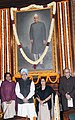 Manmohan Singh, the Speaker, Lok Sabha, Smt. Meira Kumar, the Leader of Opposition in Lok Sabha, Smt. Sushma Swaraj and the Chairman of the BJP Parliamentary Party.jpg