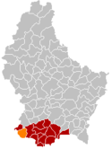 Location of Differdange in Luxembourg