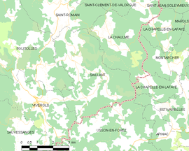 Mapa obce Saillant
