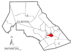 Map of Castanea Township, Clinton County, Pennsylvania Highlighted.png