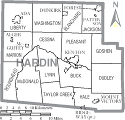 Map of Hardin County Ohio With Municipal and Township Labels.PNG