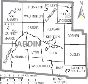 Hardin County, Ohio - Map of Hardin County, Ohio with Municipal and Township Labels