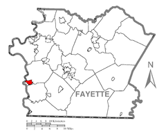 Map of Masontown, Fayette County, Pennsylvania Highlighted.png