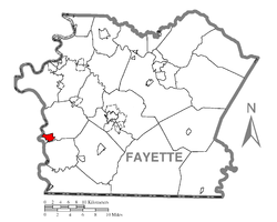 Location of Masontown in Fayette County