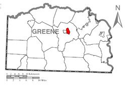 Map of Morrisville, Greene County, Pennsylvania Highlighted.png
