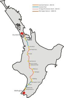 North Island Main Trunk railway line in New Zealand running between Auckland and Wellington