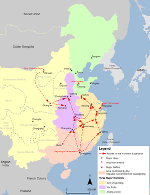 Zhang Zuolin - Map showing the territory controlled by Zhang Zuolin (in green) during the Northern Expedition period