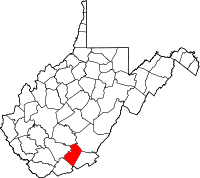Map of West Virginia highlighting Summers County