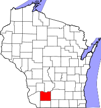 Locatie van Iowa County in Wisconsin
