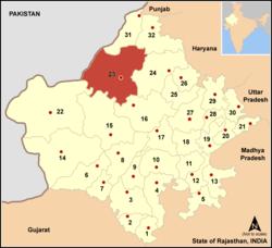 Vị trí của Huyện Bikaner