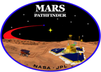 "An image inside an oval, depicting two spacecraft, one a lander, and one a rover, on the surface of Mars. The words ""Mars Pathfinder"" are written on the top and the words ""NASA ၊ JPL"" are written on the bottom."
