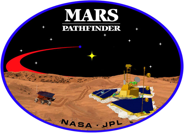 "An image inside an oval, depicting two spacecraft, one a lander, and one a rover, on the surface of Mars. The words ""Mars Pathfinder"" are written on the top and the words ""NASA · JPL"" are written on the bottom."