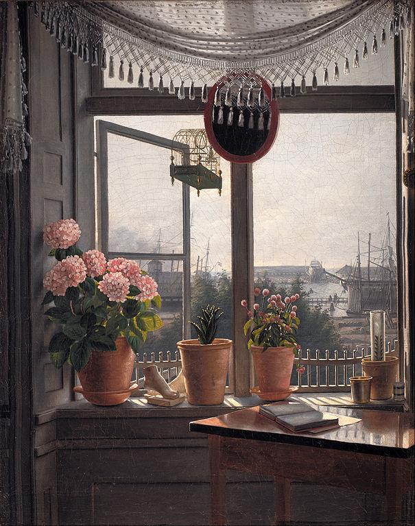 """""""Vue depuis la fenêtre de l'artiste"""" (1825) par Martinus Rørbye au SKM."""