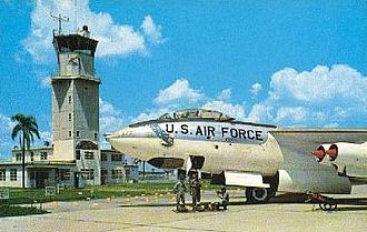 McCoy Air Force Base - Postcard from Pinecastle AFB in the mid-1950s, showing the Pinecastle AFB control tower and a Boeing  B-47E-90-BW Stratojet, AF Ser. No. 52-0477, of the 321st Bomb Wing on the ramp.  This B-47 was sent to AMARC in November 1964.   The control tower would continue to be used by McCoy AFB and as the first control tower for Orlando International Airport.