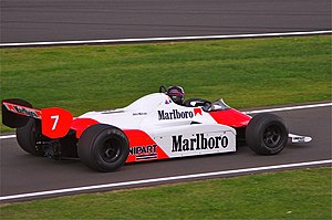 Silverstone Circuit -  John Watson's 1981 British Grand Prix race winning McLaren, during the 2011 Silverstone Classic meeting