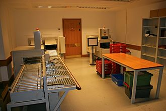 British Library - The mechanical book handling system (MBHS) used to deliver requested books from stores to reading rooms.