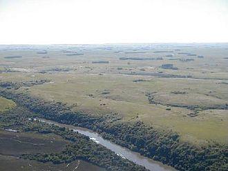 Quaraí River - Aerial view of the Quaraí, or Cuareim River