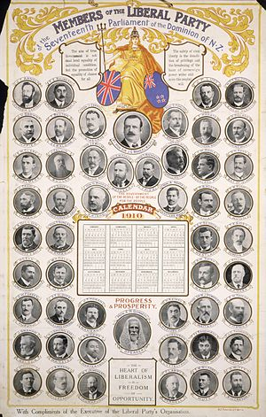 1910 in New Zealand - 1910 calendar featuring Liberal MPs.