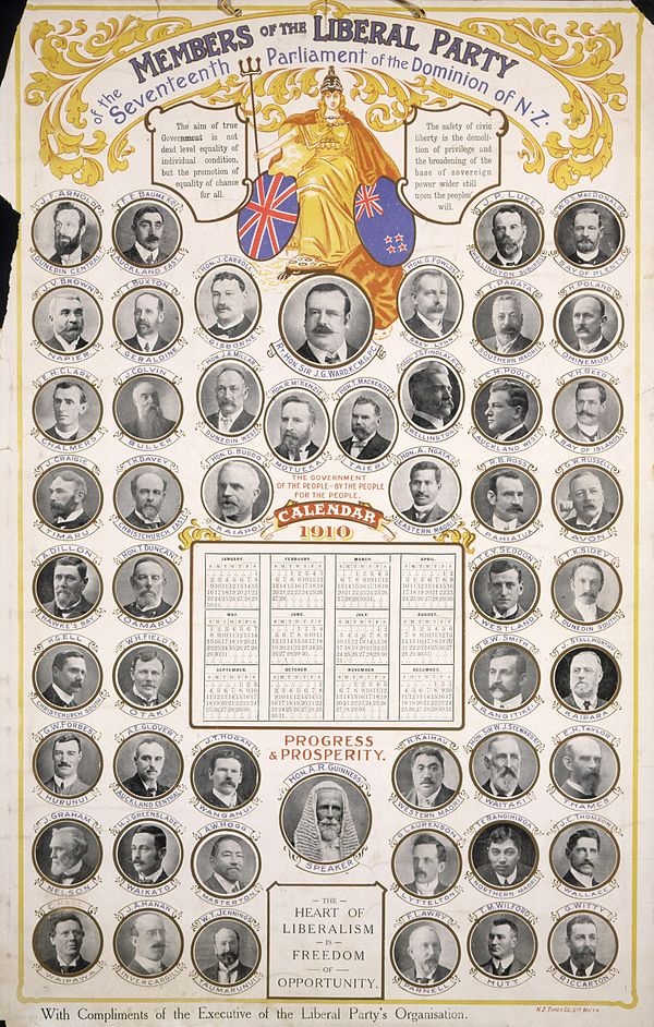 1910 calendar showing Liberal Party MPs Members of the Liberal Party of the 17th parliament.jpg