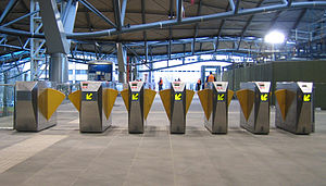 Automated fare collection - AFC barrier gates at Southern Cross Station in the Melbourne Metcard AFC System