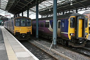 Mid-Cheshire line - Northern Rail DMUs at Chester.