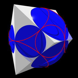 Midsphere - A polyhedron and its midsphere. The red circles are the boundaries of spherical caps within which the surface of the sphere can be seen from each vertex.